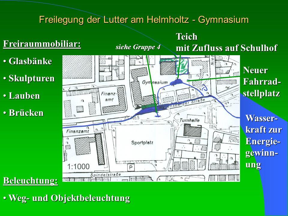Freilegung der Lutter am Helmholtz - Gymnasium siehe Gruppe 4 Teich mit Zufluss auf Schulhof Neuer Fahrrad- stellplatz Wasser- kraft zur Energie- gewi