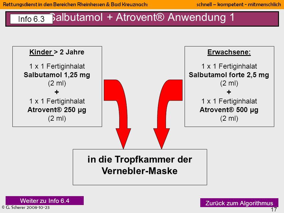 © G. Scherer 2008-10-23 17 Rettungsdienst in den Bereichen Rheinhessen & Bad Kreuznach: schnell – kompetent - mitmenschlich Kinder > 2 Jahre 1 x 1 Fer