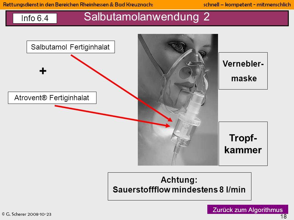 © G. Scherer 2008-10-23 18 Rettungsdienst in den Bereichen Rheinhessen & Bad Kreuznach: schnell – kompetent - mitmenschlich Vernebler- maske Tropf- ka
