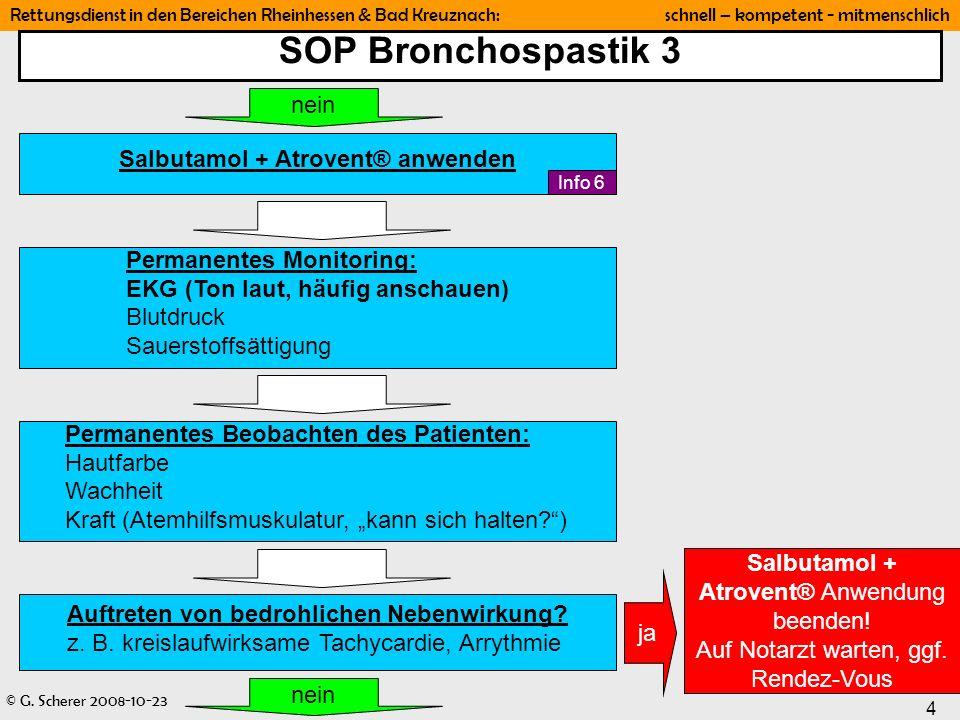 © G. Scherer 2008-10-23 4 Rettungsdienst in den Bereichen Rheinhessen & Bad Kreuznach: schnell – kompetent - mitmenschlich SOP Bronchospastik 3 Perman