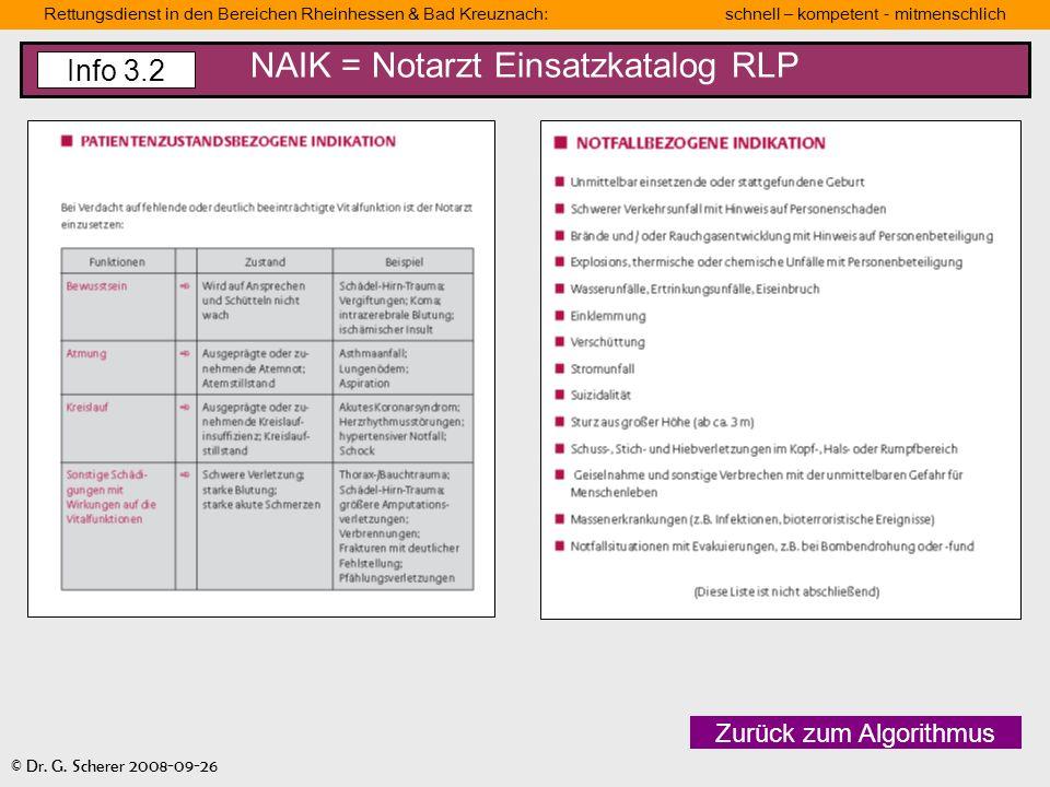Rettungsdienst in den Bereichen Rheinhessen & Bad Kreuznach: schnell – kompetent - mitmenschlich © Dr. G. Scherer 2008-09-26 NAIK = Notarzt Einsatzkat