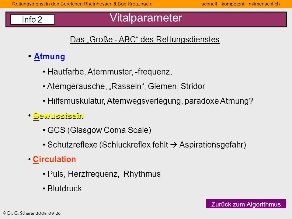 Rettungsdienst in den Bereichen Rheinhessen & Bad Kreuznach: schnell – kompetent - mitmenschlich © Dr. G. Scherer 2008-09-26 Vitalparameter Das Große