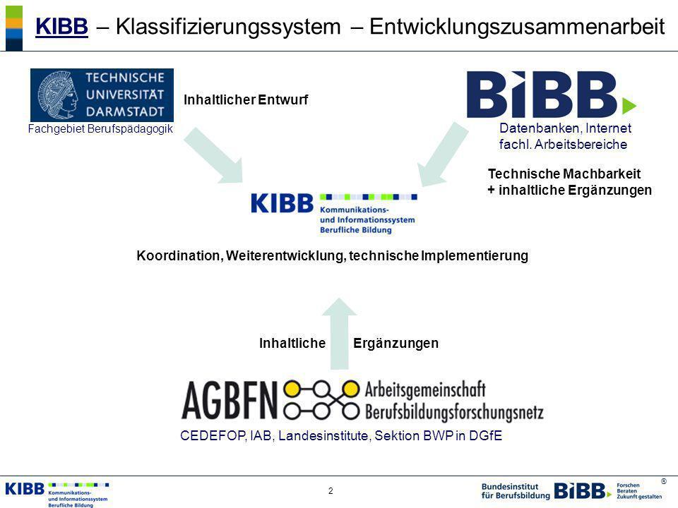® 2 KIBBKIBB – Klassifizierungssystem – Entwicklungszusammenarbeit Koordination, Weiterentwicklung, technische Implementierung Fachgebiet Berufspädago