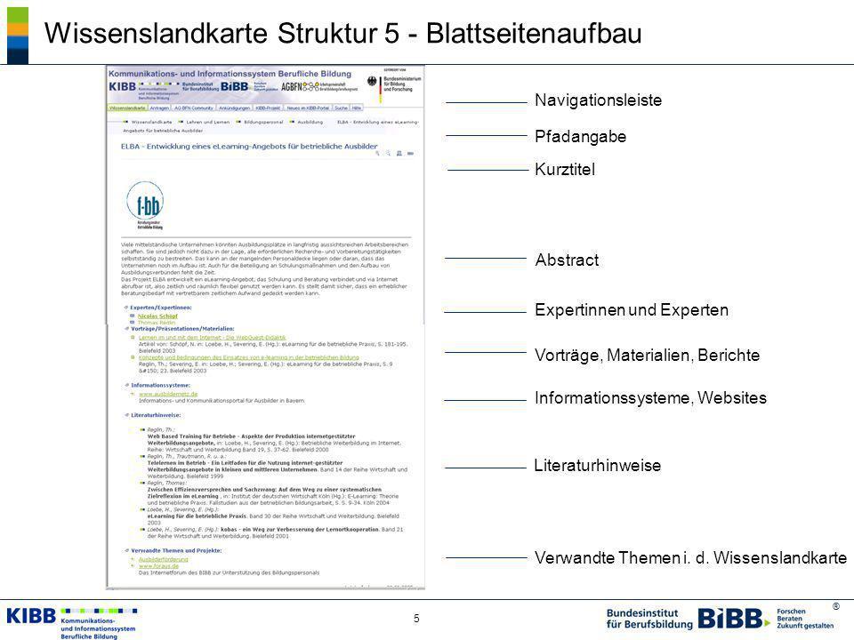 ® 6 Wissenslandkarte Struktur 5 - Blattseitenaufbau Literaturdatenbank berufliche Bildung BIBB-Modellversuchs- datenbank 45.000 250 Automatisierte Integration thematisch passender Informationen