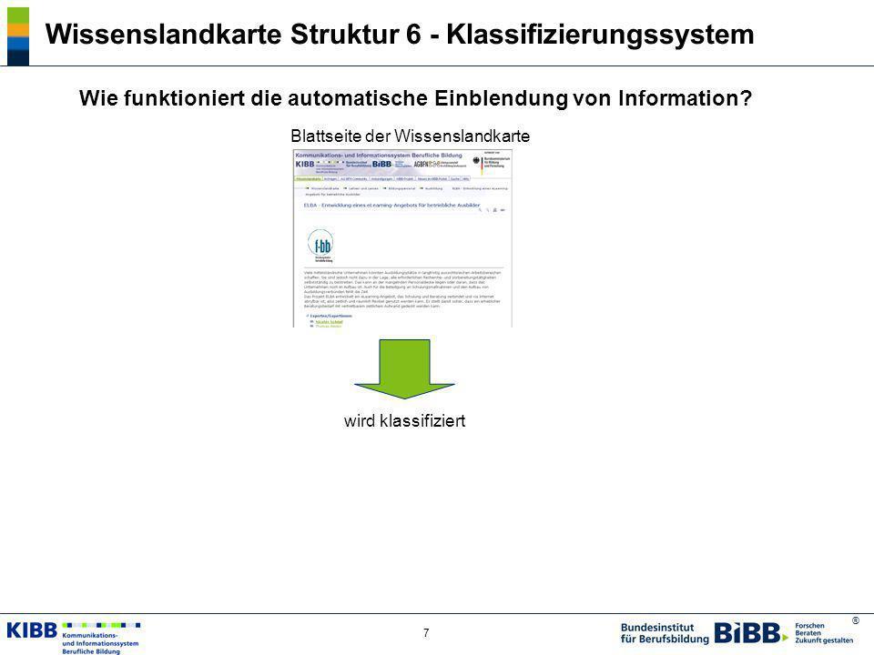 ® 7 Wissenslandkarte Struktur 6 - Klassifizierungssystem Wie funktioniert die automatische Einblendung von Information? Blattseite der Wissenslandkart