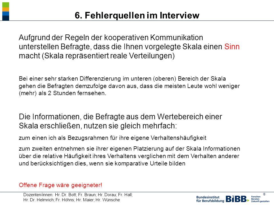 ® Dozenten/innen: Hr. Dr. Bott; Fr. Braun; Hr. Dorau; Fr. Hall; Hr. Dr. Helmrich; Fr. Höhns; Hr. Maier; Hr. Wünsche 6. Fehlerquellen im Interview Aufg