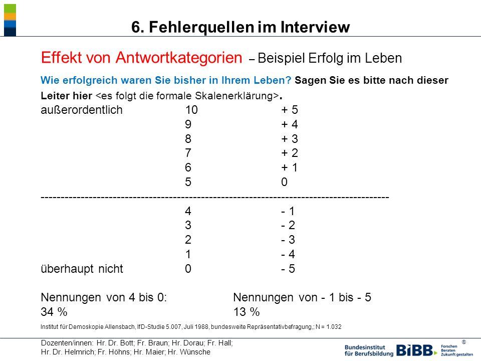 ® Dozenten/innen: Hr. Dr. Bott; Fr. Braun; Hr. Dorau; Fr. Hall; Hr. Dr. Helmrich; Fr. Höhns; Hr. Maier; Hr. Wünsche 6. Fehlerquellen im Interview Effe