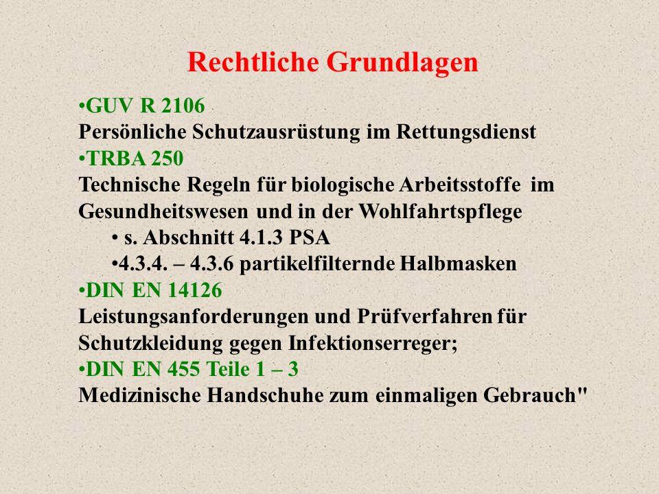 Rechtliche Grundlagen GUV R 2106 Persönliche Schutzausrüstung im Rettungsdienst TRBA 250 Technische Regeln für biologische Arbeitsstoffe im Gesundheit