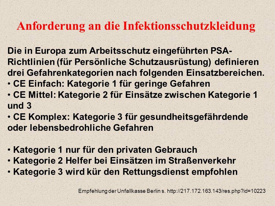 Anforderung an die Infektionsschutzkleidung Die in Europa zum Arbeitsschutz eingeführten PSA- Richtlinien (für Persönliche Schutzausrüstung) definiere