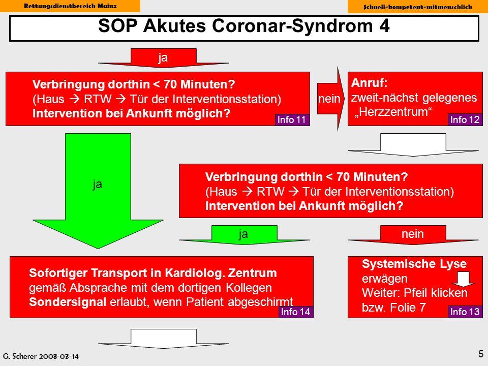 G. Scherer 2008-03-14 Rettungsdienstbereich Mainz Schnell-kompetent-mitmenschlich 5 SOP Akutes Coronar-Syndrom 4 G. Scherer 2007-07 Anruf: zweit-nächs