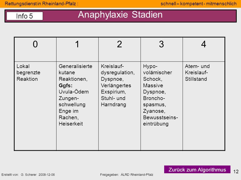 Rettungsdienst in Rheinland-Pfalz : schnell – kompetent - mitmenschlich Erstellt von: G. Scherer 2008-12-06Freigegeben: ÄLRD Rheinland-Pfalz 12 Anaphy