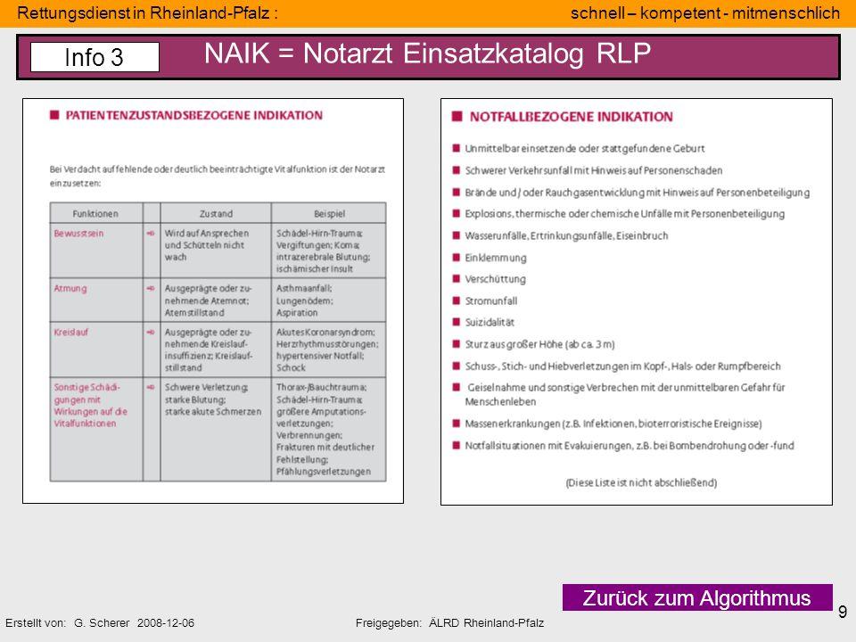 Rettungsdienst in Rheinland-Pfalz : schnell – kompetent - mitmenschlich Erstellt von: G. Scherer 2008-12-06Freigegeben: ÄLRD Rheinland-Pfalz 9 NAIK =