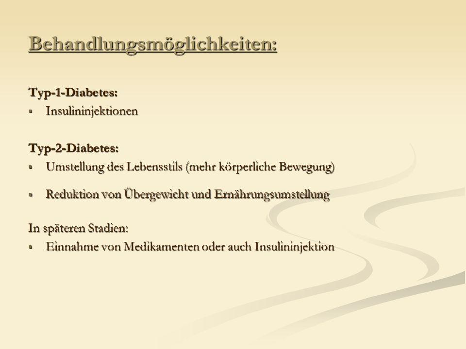 Behandlungsmöglichkeiten: Typ-1-Diabetes: Insulininjektionen InsulininjektionenTyp-2-Diabetes: Umstellung des Lebensstils (mehr körperliche Bewegung)