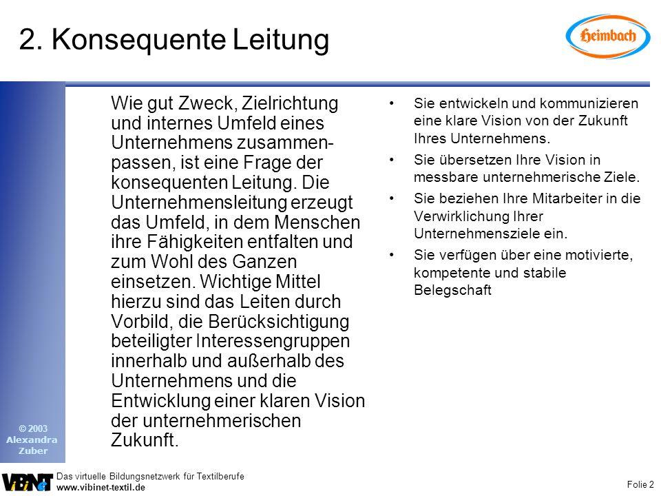 Folie 2 Das virtuelle Bildungsnetzwerk für Textilberufe www.vibinet-textil.de © 2003 Alexandra Zuber 2. Konsequente Leitung Wie gut Zweck, Zielrichtun