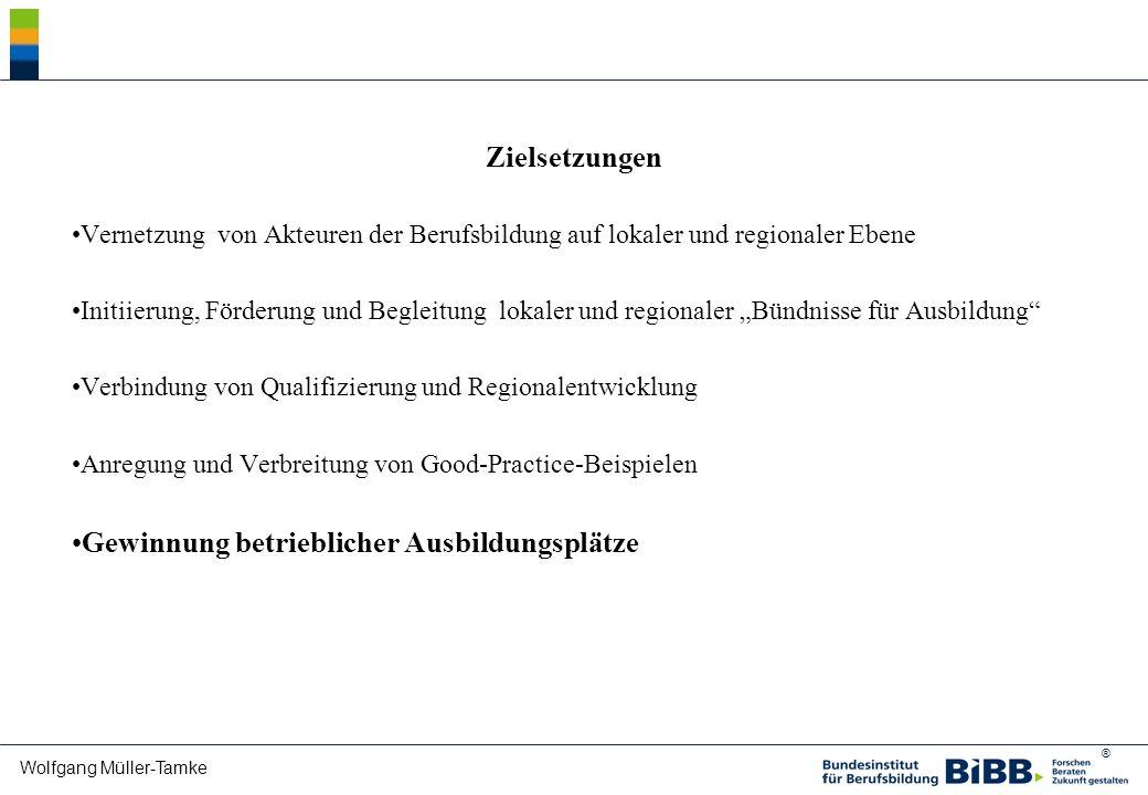 ® Wolfgang Müller-Tamke Zielsetzungen Vernetzung von Akteuren der Berufsbildung auf lokaler und regionaler Ebene Initiierung, Förderung und Begleitung