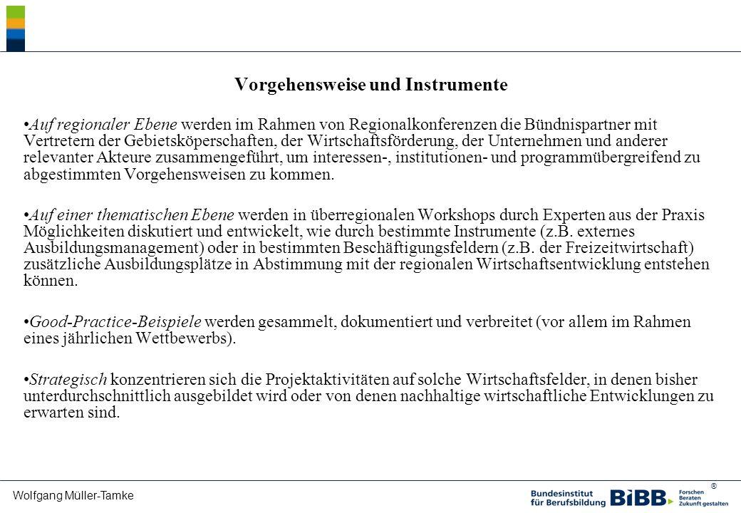 ® Wolfgang Müller-Tamke Vorgehensweise und Instrumente Auf regionaler Ebene werden im Rahmen von Regionalkonferenzen die Bündnispartner mit Vertretern