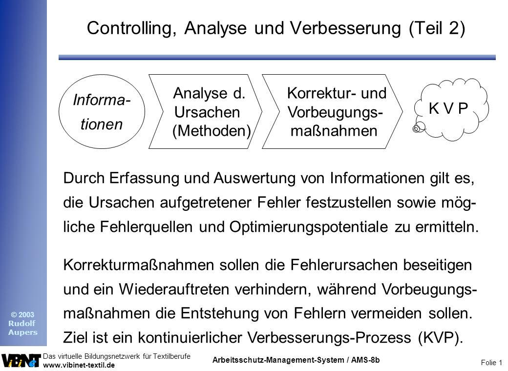 Folie 1 Das virtuelle Bildungsnetzwerk für Textilberufe www.vibinet-textil.de © 2003 Rudolf Aupers Arbeitsschutz-Management-System / AMS-8b Controllin