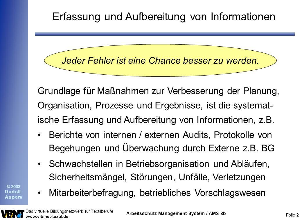 Folie 2 Das virtuelle Bildungsnetzwerk für Textilberufe www.vibinet-textil.de © 2003 Rudolf Aupers Arbeitsschutz-Management-System / AMS-8b Erfassung