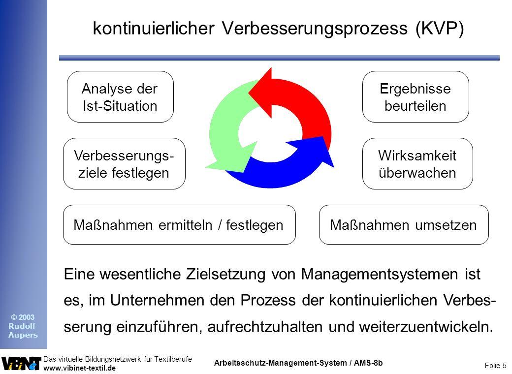 Folie 5 Das virtuelle Bildungsnetzwerk für Textilberufe www.vibinet-textil.de © 2003 Rudolf Aupers Arbeitsschutz-Management-System / AMS-8b kontinuier