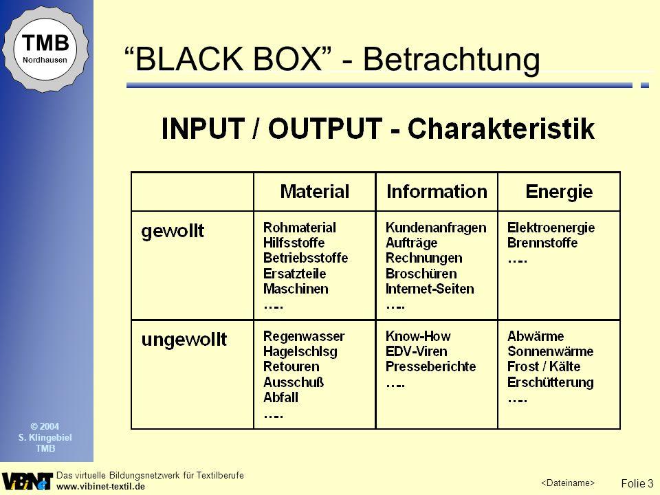 Folie 3 Das virtuelle Bildungsnetzwerk für Textilberufe www.vibinet-textil.de TMB Nordhausen © 2004 S. Klingebiel TMB BLACK BOX - Betrachtung