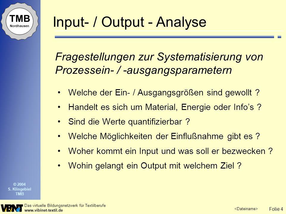 Folie 4 Das virtuelle Bildungsnetzwerk für Textilberufe www.vibinet-textil.de TMB Nordhausen © 2004 S. Klingebiel TMB Welche der Ein- / Ausgangsgrößen