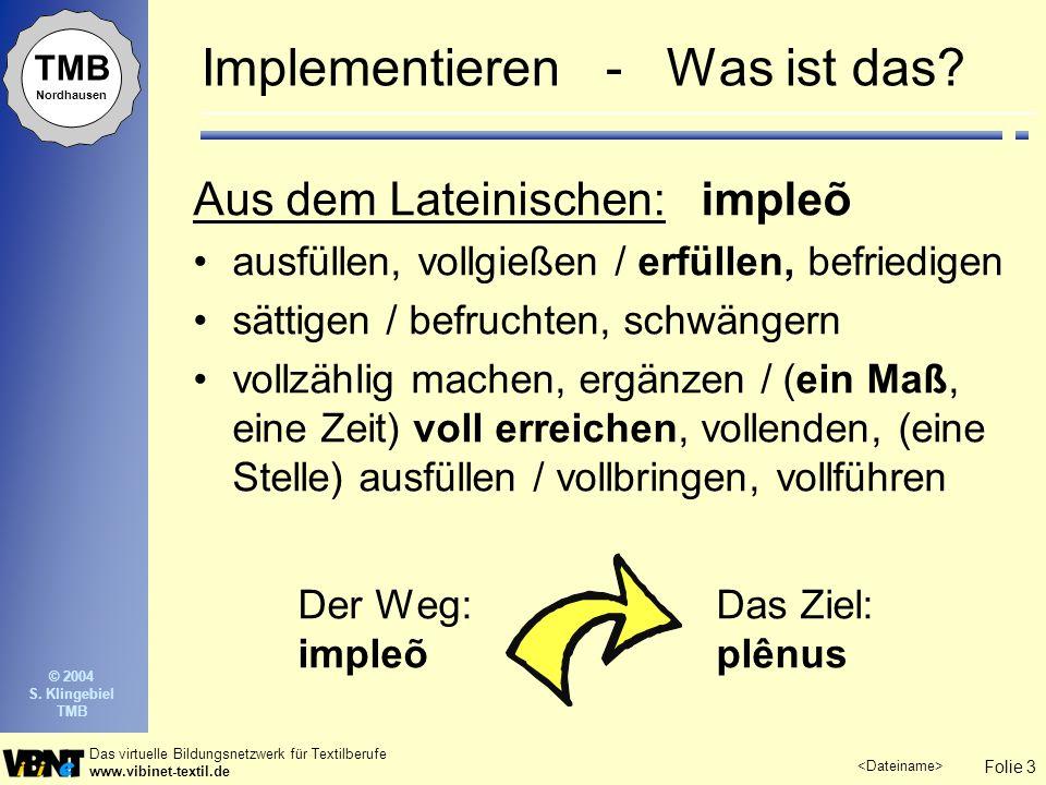 Folie 4 Das virtuelle Bildungsnetzwerk für Textilberufe www.vibinet-textil.de TMB Nordhausen © 2004 S.