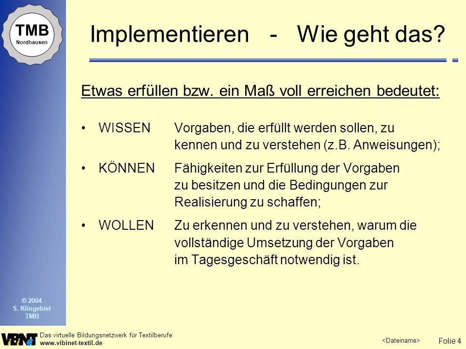 Folie 4 Das virtuelle Bildungsnetzwerk für Textilberufe www.vibinet-textil.de TMB Nordhausen © 2004 S. Klingebiel TMB Implementieren - Wie geht das? E