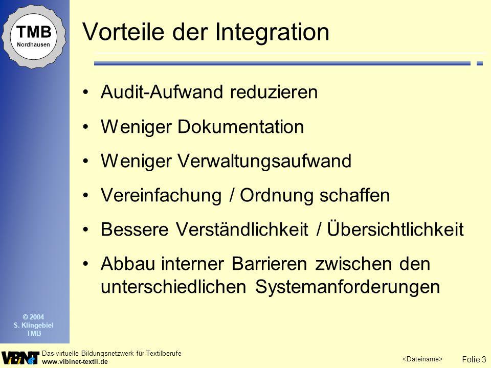 Folie 3 Das virtuelle Bildungsnetzwerk für Textilberufe www.vibinet-textil.de © 2004 S. Klingebiel TMB TMB Nordhausen Vorteile der Integration Audit-A
