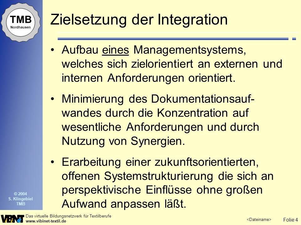 Folie 4 Das virtuelle Bildungsnetzwerk für Textilberufe www.vibinet-textil.de © 2004 S. Klingebiel TMB TMB Nordhausen Zielsetzung der Integration Aufb