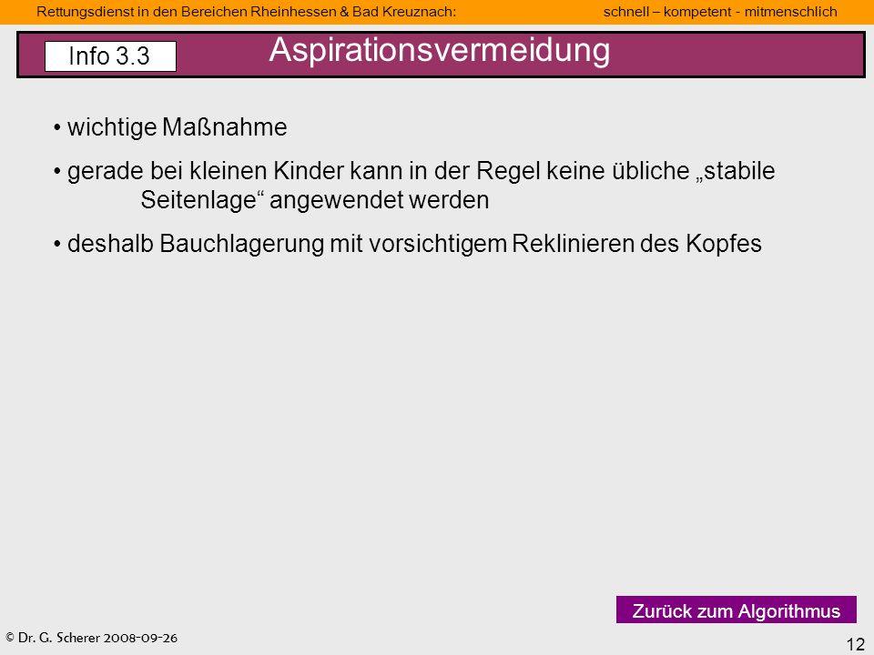 © Dr. G. Scherer 2008-09-26 12 Rettungsdienst in den Bereichen Rheinhessen & Bad Kreuznach: schnell – kompetent - mitmenschlich wichtige Maßnahme gera
