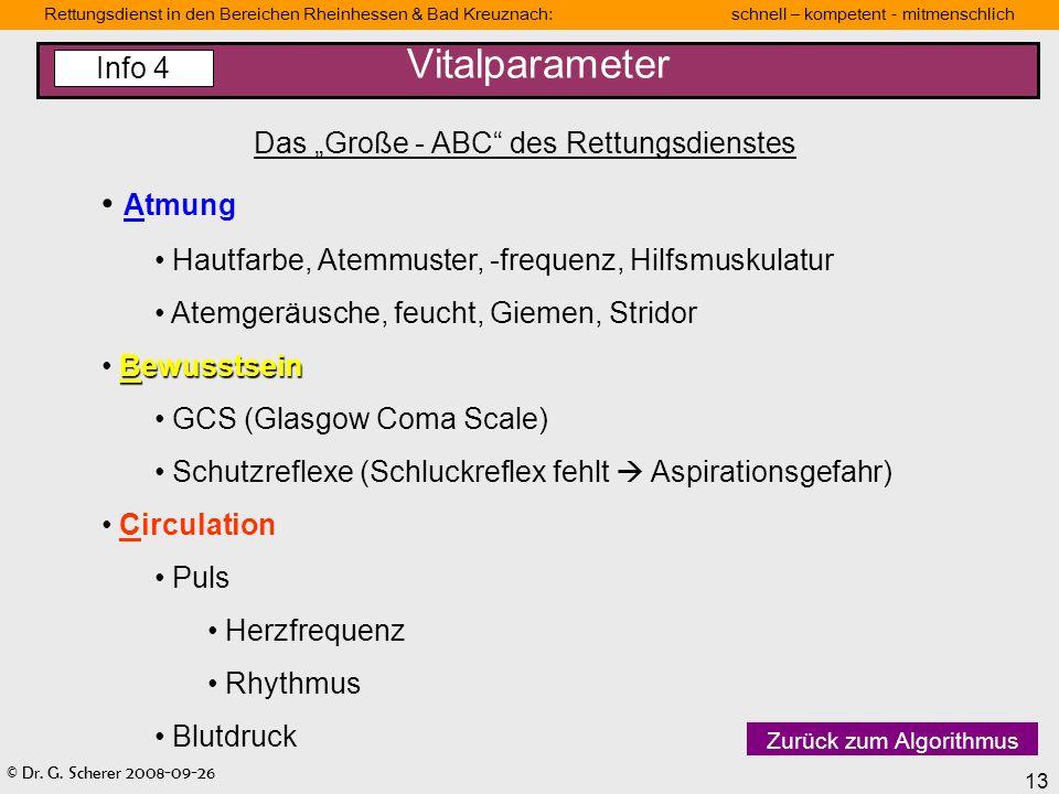 © Dr. G. Scherer 2008-09-26 13 Rettungsdienst in den Bereichen Rheinhessen & Bad Kreuznach: schnell – kompetent - mitmenschlich Vitalparameter Das Gro
