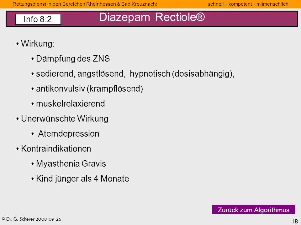 © Dr. G. Scherer 2008-09-26 18 Rettungsdienst in den Bereichen Rheinhessen & Bad Kreuznach: schnell – kompetent - mitmenschlich Wirkung: Dämpfung des