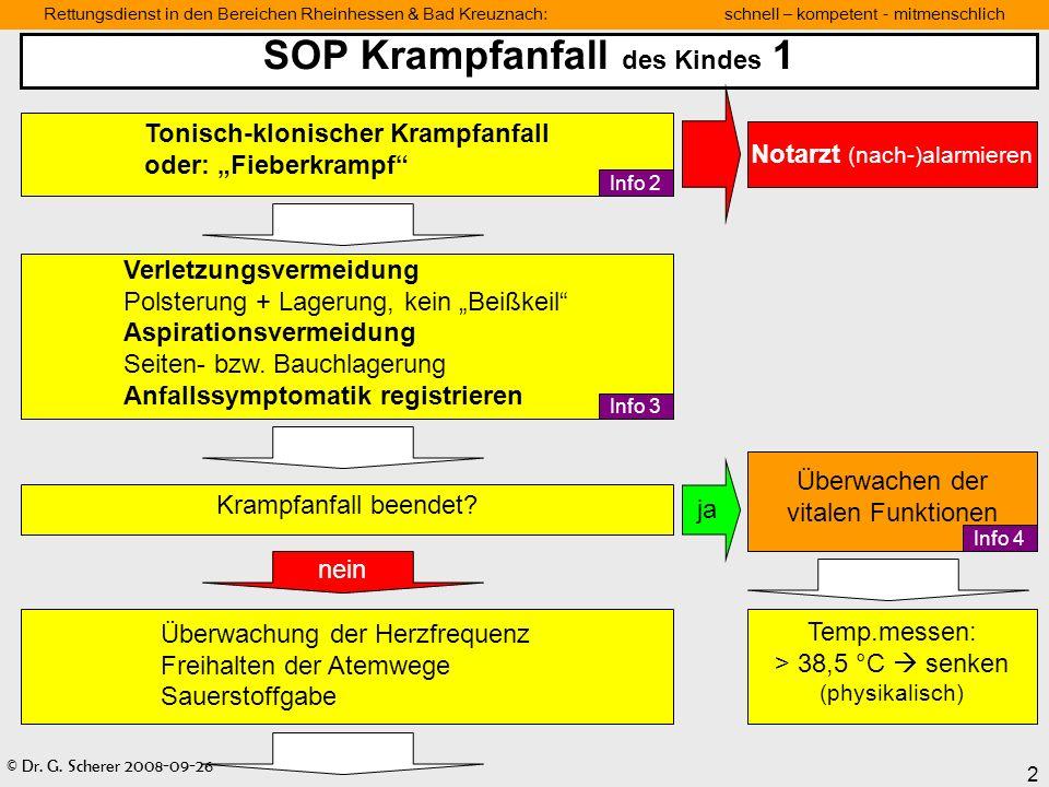 © Dr. G. Scherer 2008-09-26 2 Rettungsdienst in den Bereichen Rheinhessen & Bad Kreuznach: schnell – kompetent - mitmenschlich SOP Krampfanfall des Ki