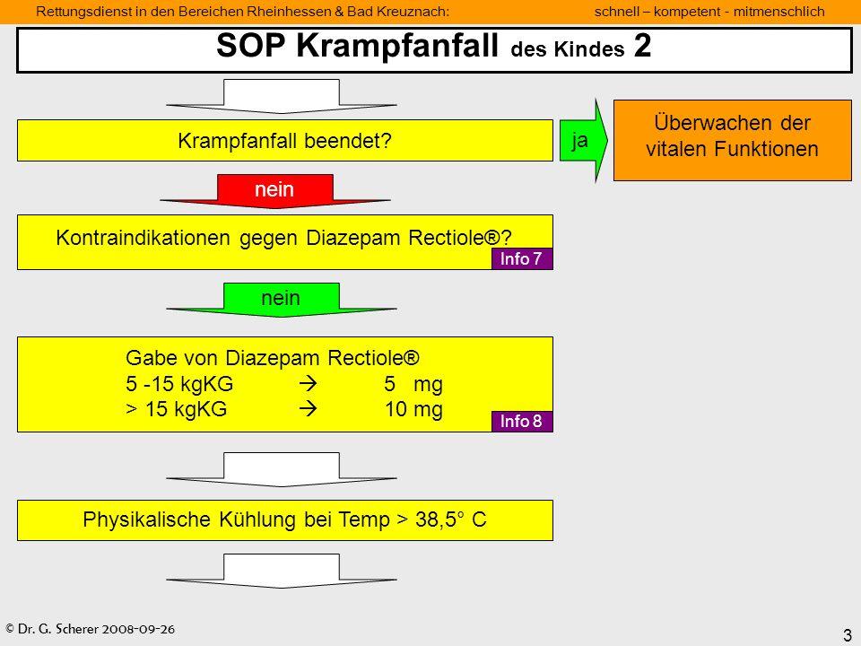 © Dr. G. Scherer 2008-09-26 3 Rettungsdienst in den Bereichen Rheinhessen & Bad Kreuznach: schnell – kompetent - mitmenschlich SOP Krampfanfall des Ki