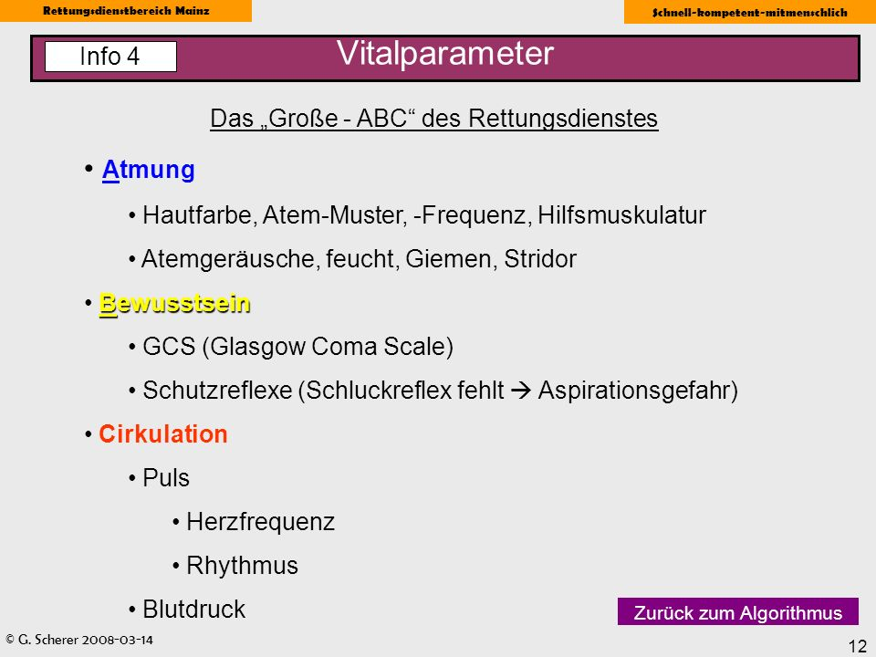 © G. Scherer 2008-03-14 Rettungsdienstbereich Mainz Schnell-kompetent-mitmenschlich 12 Vitalparameter Das Große - ABC des Rettungsdienstes Atmung Haut
