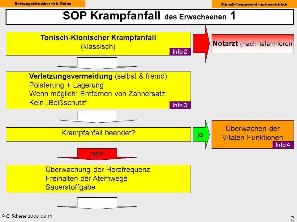 © G. Scherer 2008-03-14 Rettungsdienstbereich Mainz Schnell-kompetent-mitmenschlich 2 SOP Krampfanfall des Erwachsenen 1 Tonisch-Klonischer Krampfanfa