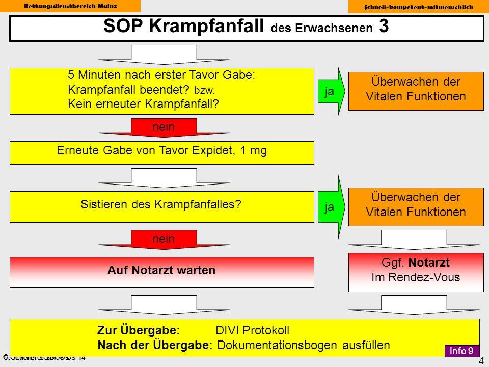 © G. Scherer 2008-03-14 Rettungsdienstbereich Mainz Schnell-kompetent-mitmenschlich 4 SOP Krampfanfall des Erwachsenen 3 G. Scherer 2007-03 ja Sistier