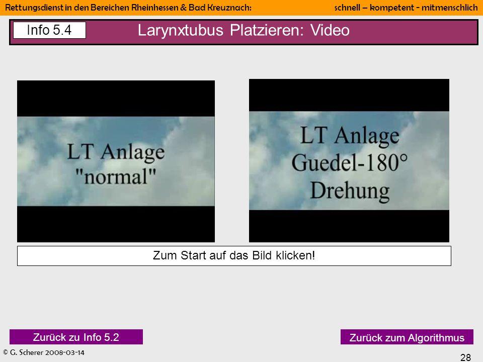 © G. Scherer 2008-03-14 28 Rettungsdienst in den Bereichen Rheinhessen & Bad Kreuznach: schnell – kompetent - mitmenschlich Zurück zum Algorithmus Zur