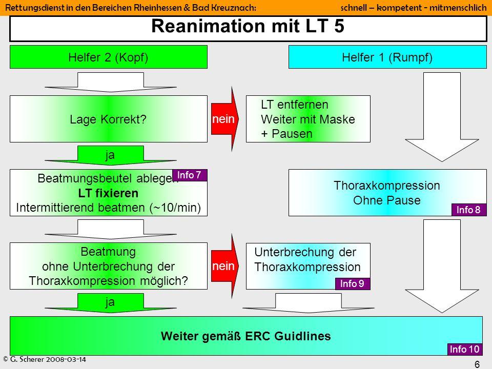 © G. Scherer 2008-03-14 6 Rettungsdienst in den Bereichen Rheinhessen & Bad Kreuznach: schnell – kompetent - mitmenschlich Reanimation mit LT 5 Helfer