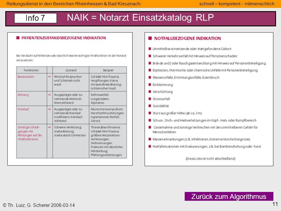 Rettungsdienst in den Bereichen Rheinhessen & Bad Kreuznach: schnell – kompetent - mitmenschlich 11 © Th. Luiz, G. Scherer 2008-03-14 NAIK = Notarzt E