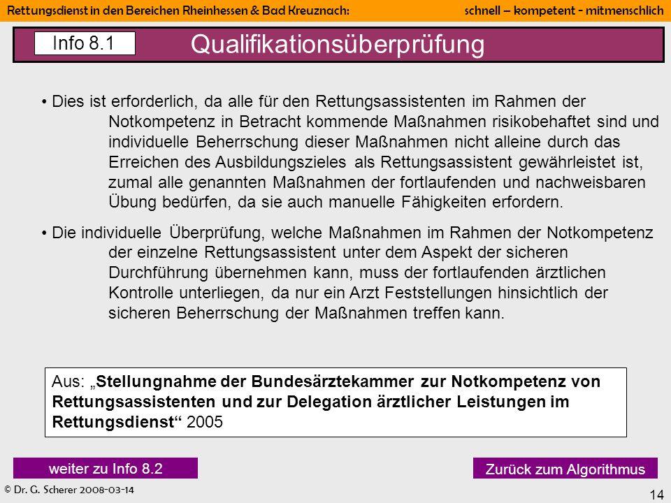 © Dr. G. Scherer 2008-03-14 Rettungsdienst in den Bereichen Rheinhessen & Bad Kreuznach: schnell – kompetent - mitmenschlich 14 Qualifikationsüberprüf