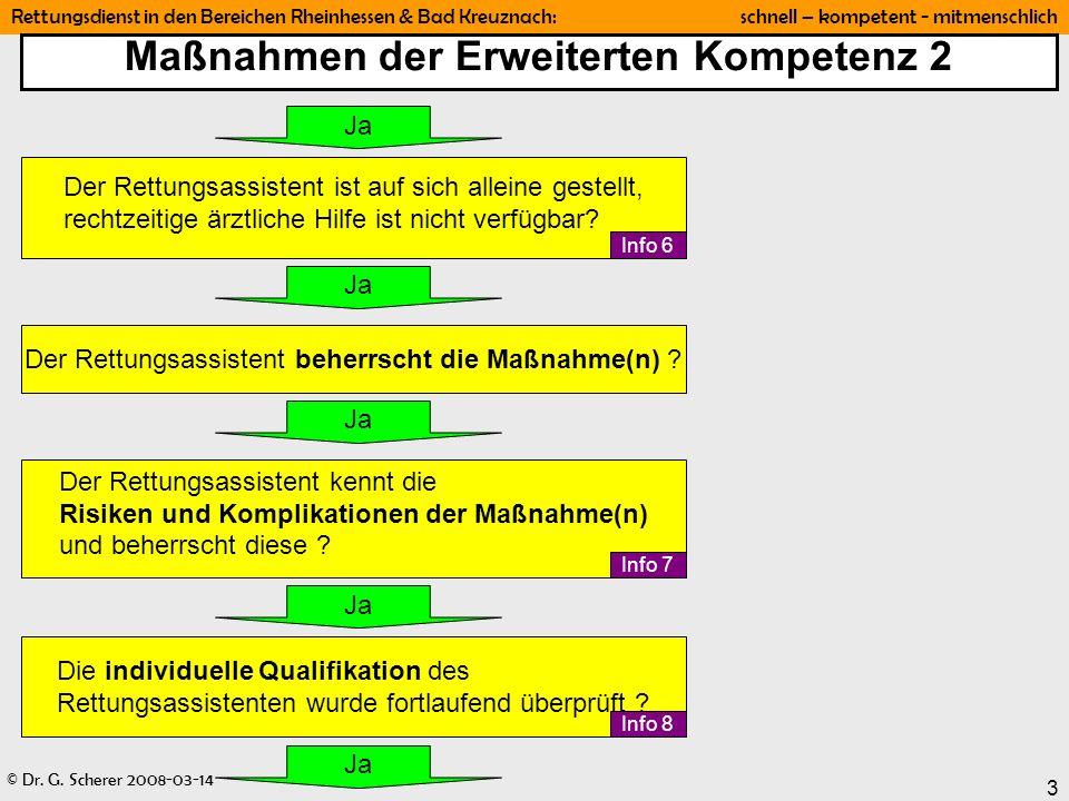 © Dr. G. Scherer 2008-03-14 Rettungsdienst in den Bereichen Rheinhessen & Bad Kreuznach: schnell – kompetent - mitmenschlich 3 Maßnahmen der Erweitert