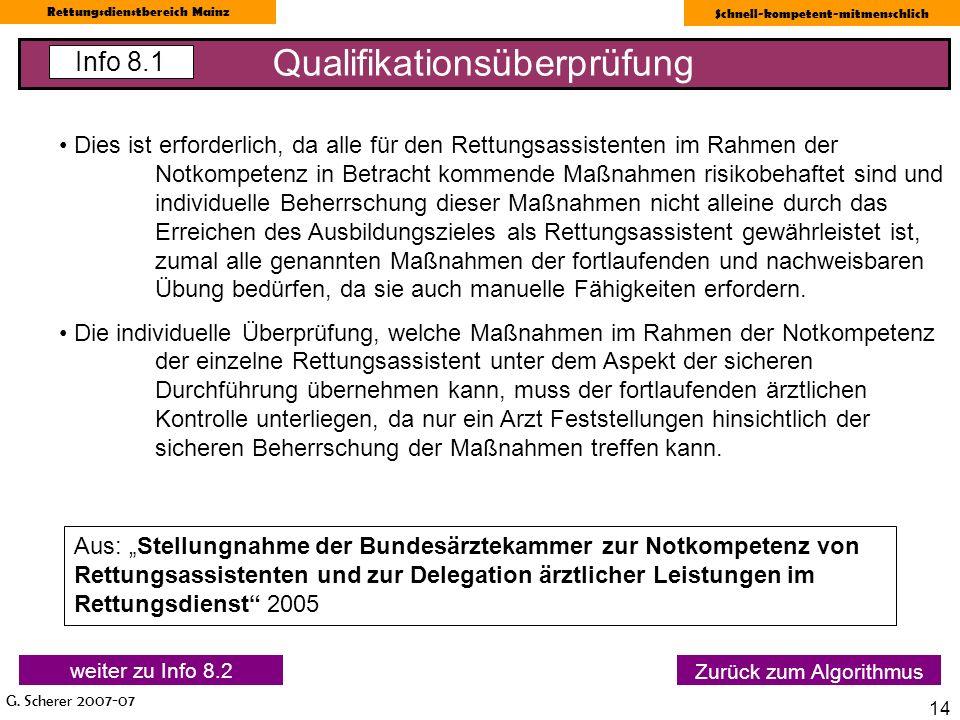 G. Scherer 2007-07 Rettungsdienstbereich Mainz Schnell-kompetent-mitmenschlich 14 Qualifikationsüberprüfung Info 8.1 Zurück zum Algorithmus Dies ist e