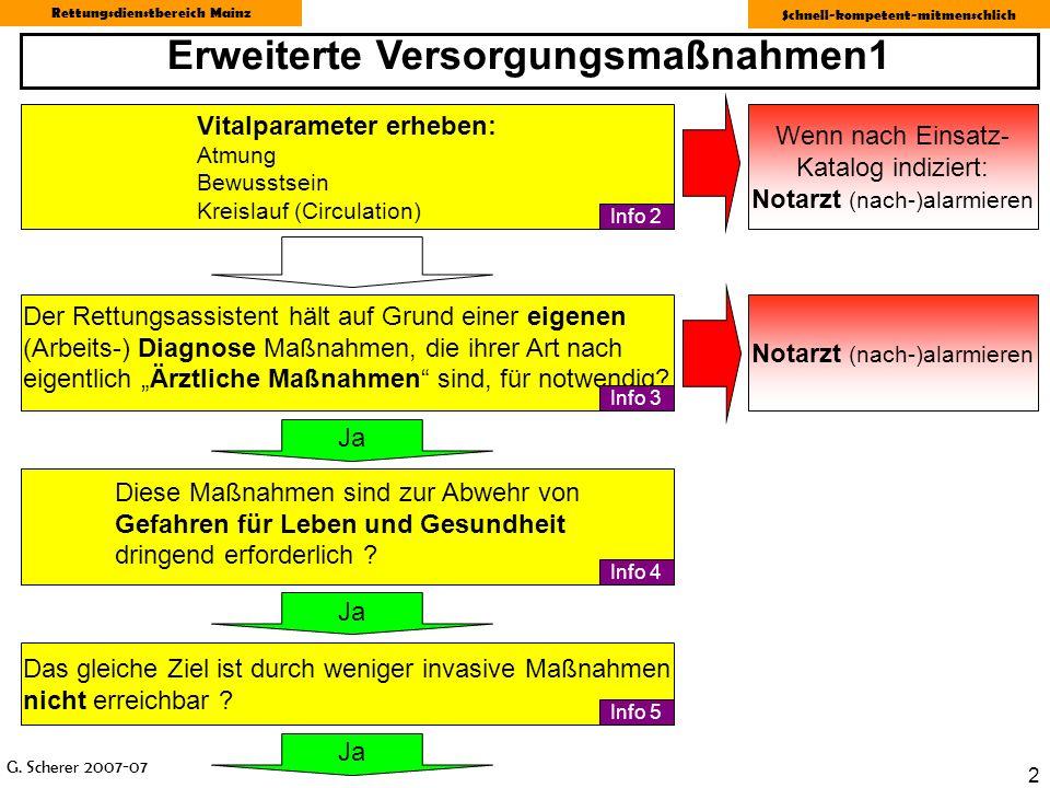 G. Scherer 2007-07 Rettungsdienstbereich Mainz Schnell-kompetent-mitmenschlich 2 Der Rettungsassistent hält auf Grund einer eigenen (Arbeits-) Diagnos