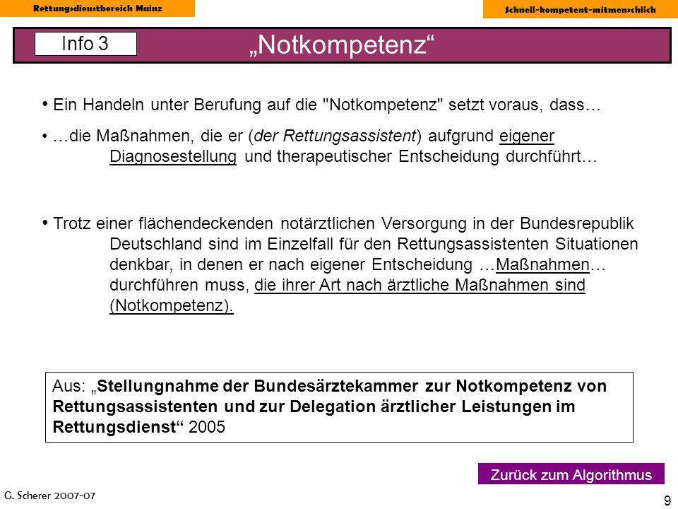 G. Scherer 2007-07 Rettungsdienstbereich Mainz Schnell-kompetent-mitmenschlich 9 Notkompetenz Info 3 Zurück zum Algorithmus Ein Handeln unter Berufung