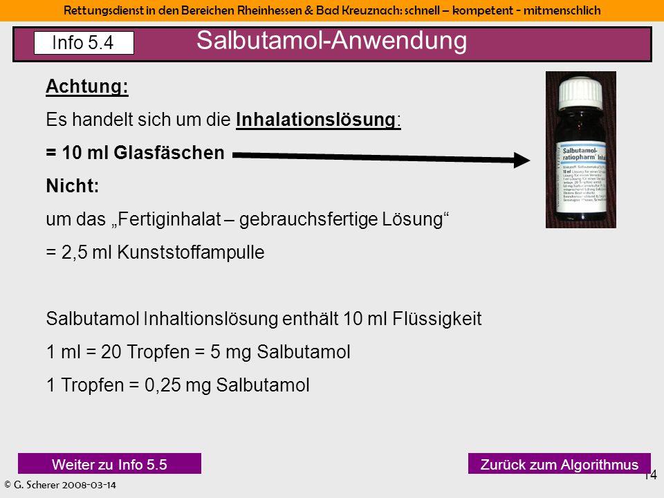 Rettungsdienst in den Bereichen Rheinhessen & Bad Kreuznach: schnell – kompetent - mitmenschlich © G. Scherer 2008-03-14 14 Achtung: Es handelt sich u