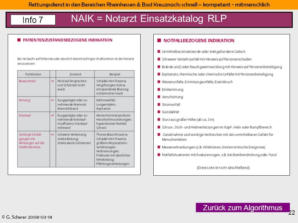 Rettungsdienst in den Bereichen Rheinhessen & Bad Kreuznach: schnell – kompetent - mitmenschlich © G. Scherer 2008-03-14 22 NAIK = Notarzt Einsatzkata