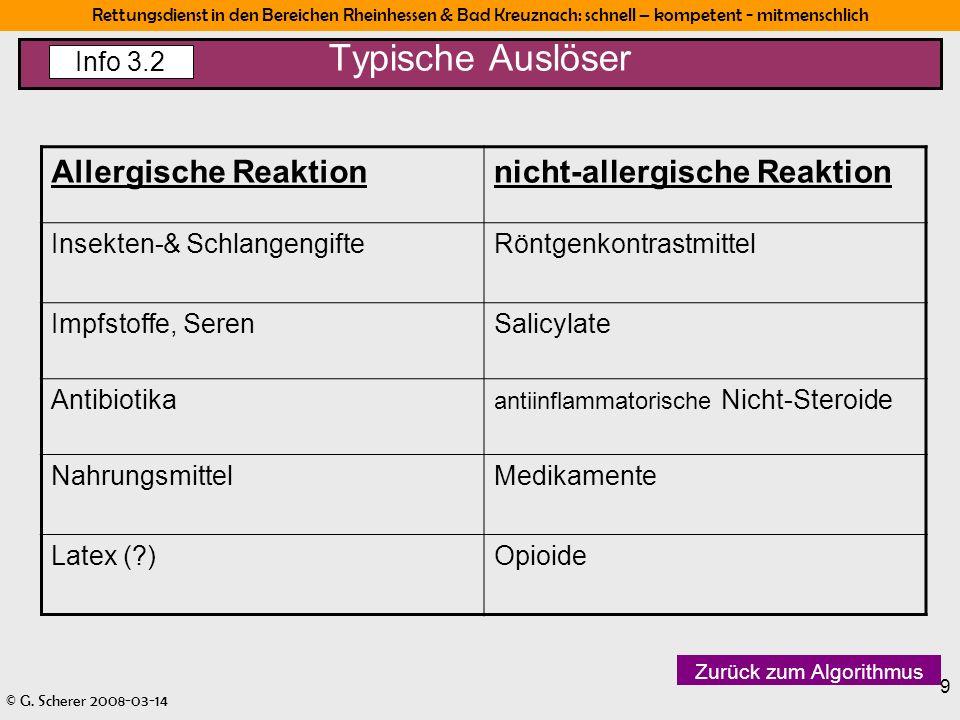 Rettungsdienst in den Bereichen Rheinhessen & Bad Kreuznach: schnell – kompetent - mitmenschlich © G. Scherer 2008-03-14 9 Typische Auslöser Info 3.2