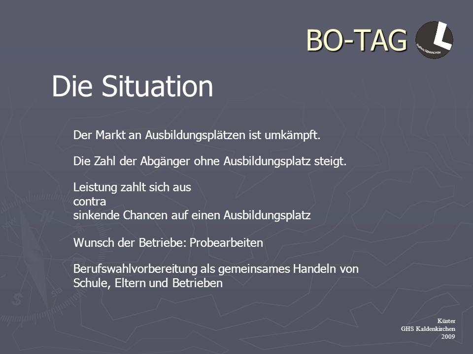 BO-TAG Küster GHS Kaldenkirchen 2009 Die Situation Der Markt an Ausbildungsplätzen ist umkämpft. Die Zahl der Abgänger ohne Ausbildungsplatz steigt. L
