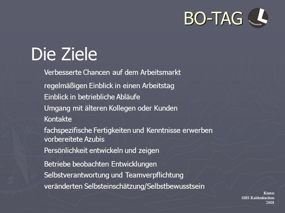 BO-TAG Küster GHS Kaldenkirchen 2008 Die Ziele Verbesserte Chancen auf dem Arbeitsmarkt regelmäßigen Einblick in einen Arbeitstag Einblick in betriebl